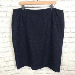 Calvin Klein Navy Blue Tweed Pencil Skirt size 18